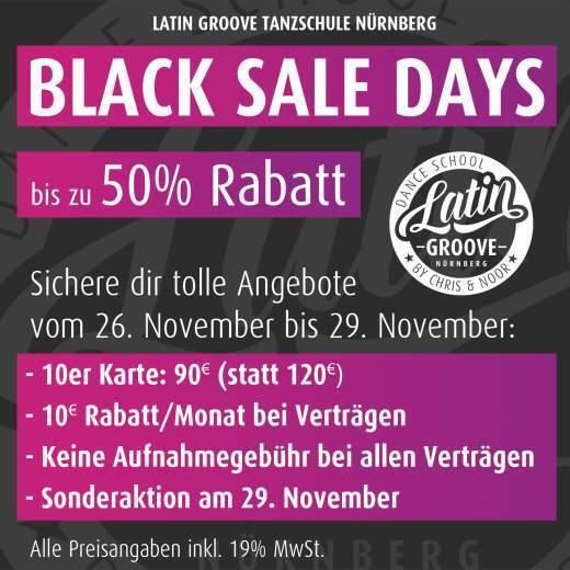 Black Sale Days bei Latin Groove in Nürnberg mit tollen Angeboten und Rabatten.